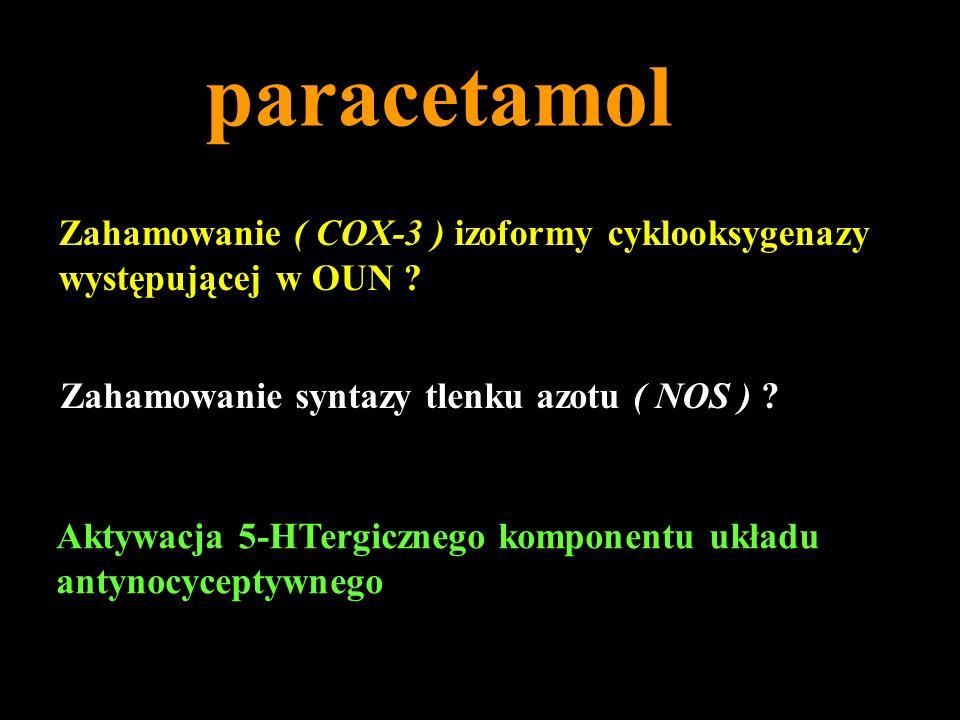 paracetamol Zahamowanie ( COX-3 ) izoformy cyklooksygenazy