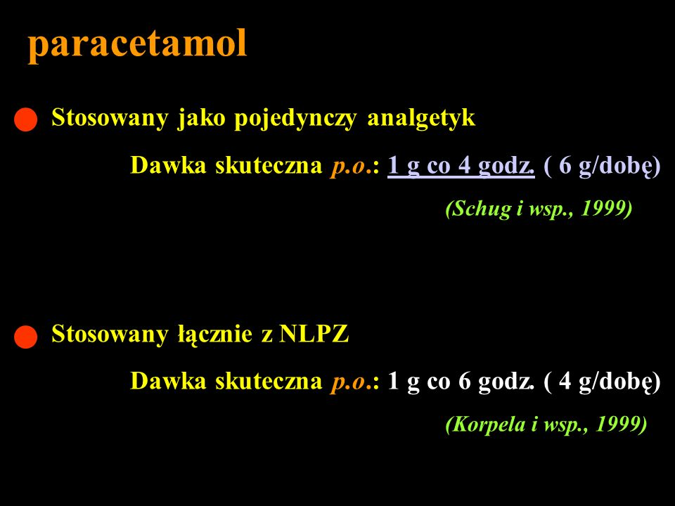 paracetamol Stosowany jako pojedynczy analgetyk
