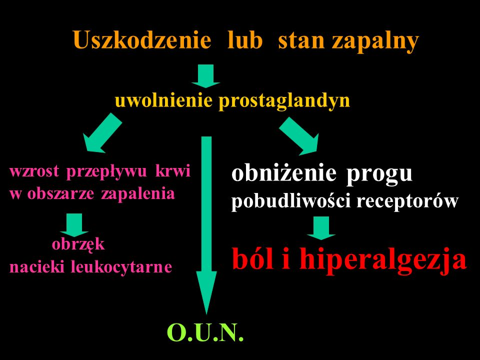 ból i hiperalgezja obniżenie progu O.U.N. Uszkodzenie lub stan zapalny