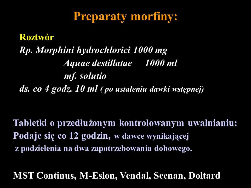 Preparaty morfiny: Roztwór Rp. Morphini hydrochlorici 1000 mg