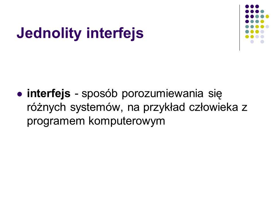Jednolity interfejsinterfejs - sposób porozumiewania się różnych systemów, na przykład człowieka z programem komputerowym.
