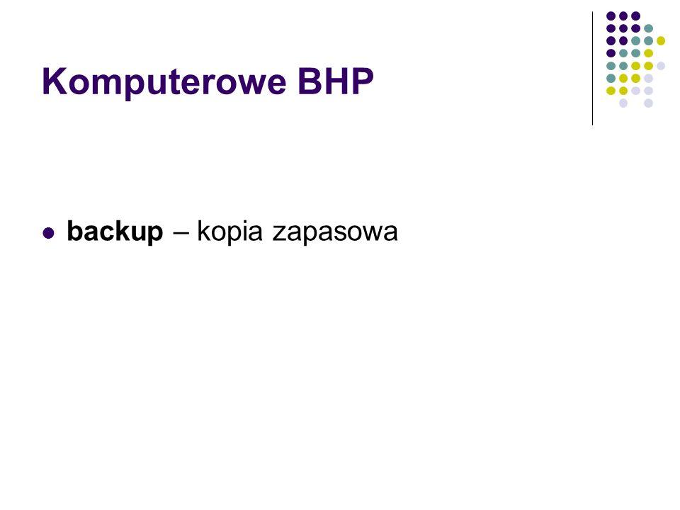 Komputerowe BHP backup – kopia zapasowa