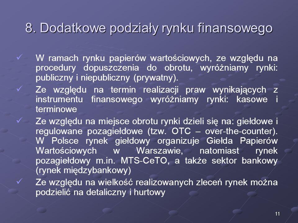 8. Dodatkowe podziały rynku finansowego
