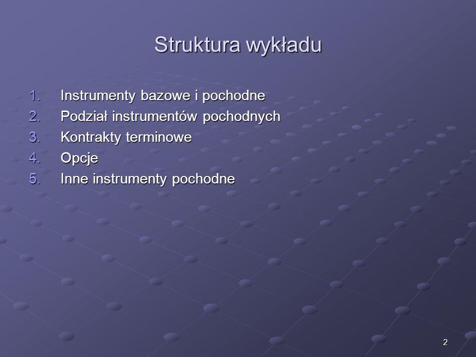 Struktura wykładu Instrumenty bazowe i pochodne