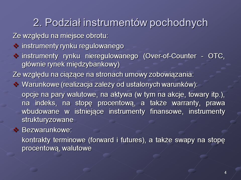 2. Podział instrumentów pochodnych