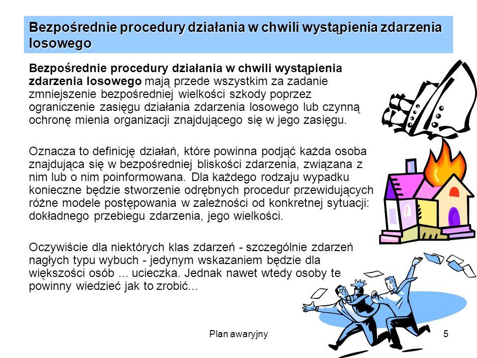 Bezpośrednie procedury działania w chwili wystąpienia zdarzenia losowego