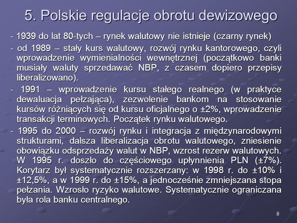 5. Polskie regulacje obrotu dewizowego