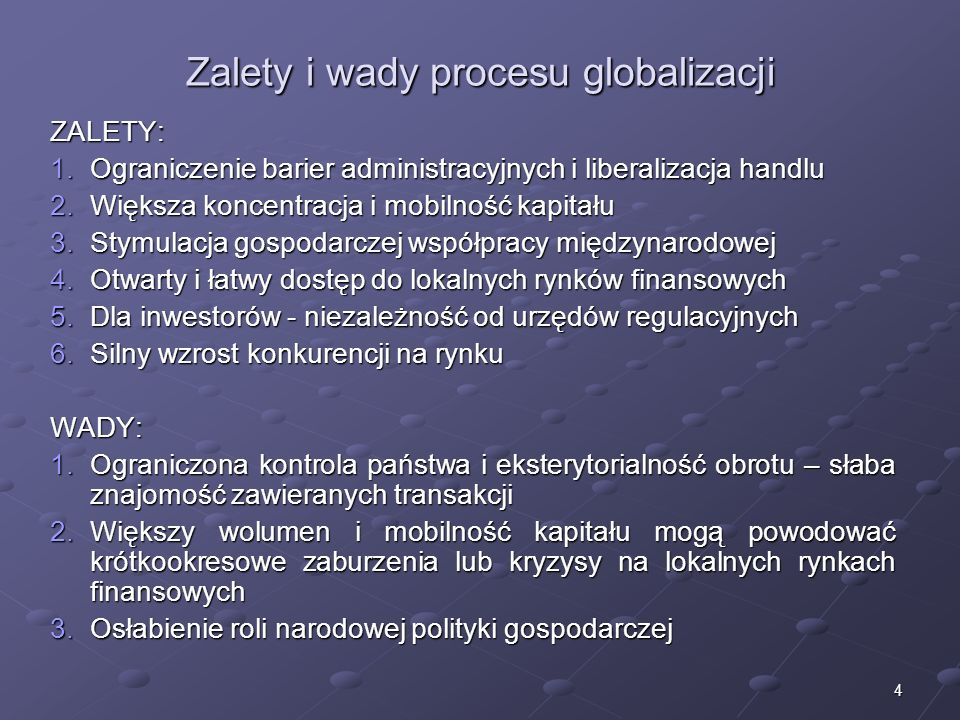 Zalety i wady procesu globalizacji