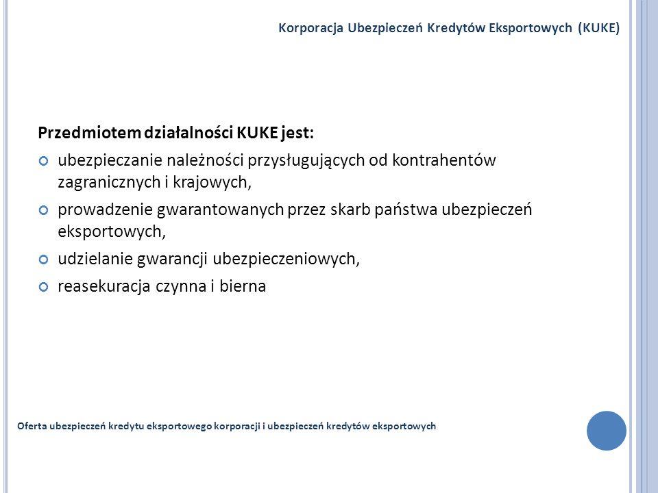Przedmiotem działalności KUKE jest: