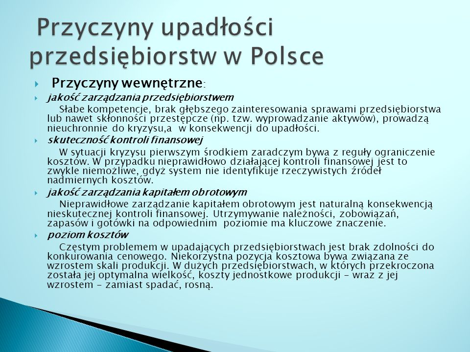 Przyczyny upadłości przedsiębiorstw w Polsce