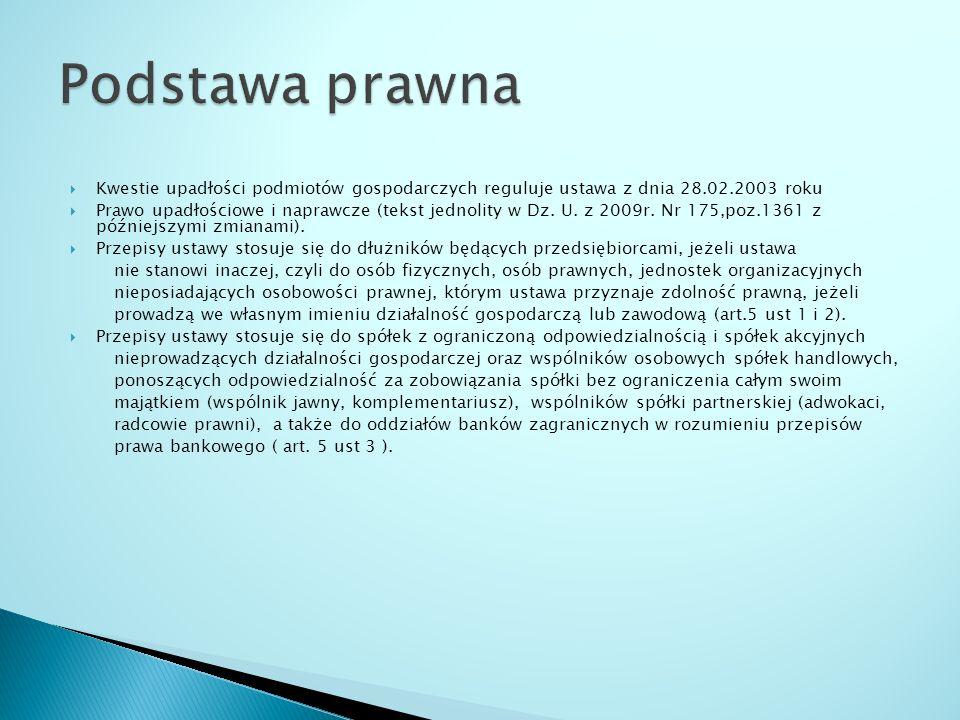 Podstawa prawna Kwestie upadłości podmiotów gospodarczych reguluje ustawa z dnia 28.02.2003 roku.
