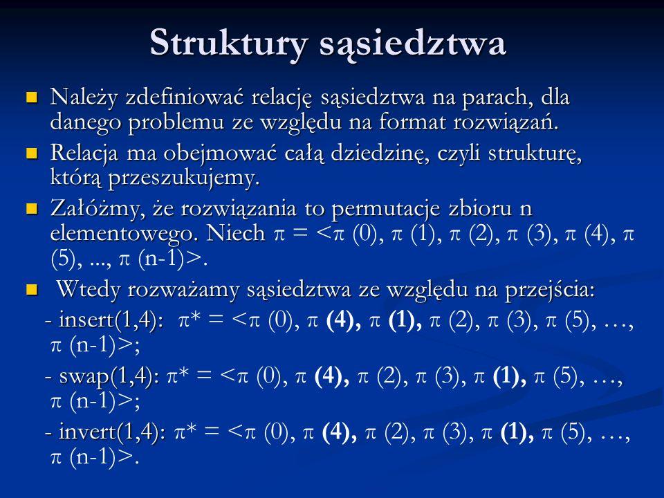 Struktury sąsiedztwa Należy zdefiniować relację sąsiedztwa na parach, dla danego problemu ze względu na format rozwiązań.