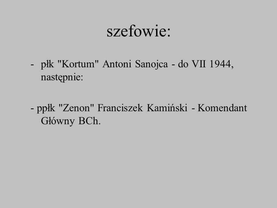 szefowie: płk Kortum Antoni Sanojca - do VII 1944, następnie: