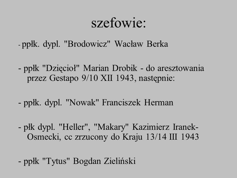 szefowie: - ppłk. dypl. Brodowicz Wacław Berka. - ppłk Dzięcioł Marian Drobik - do aresztowania przez Gestapo 9/10 XII 1943, następnie: