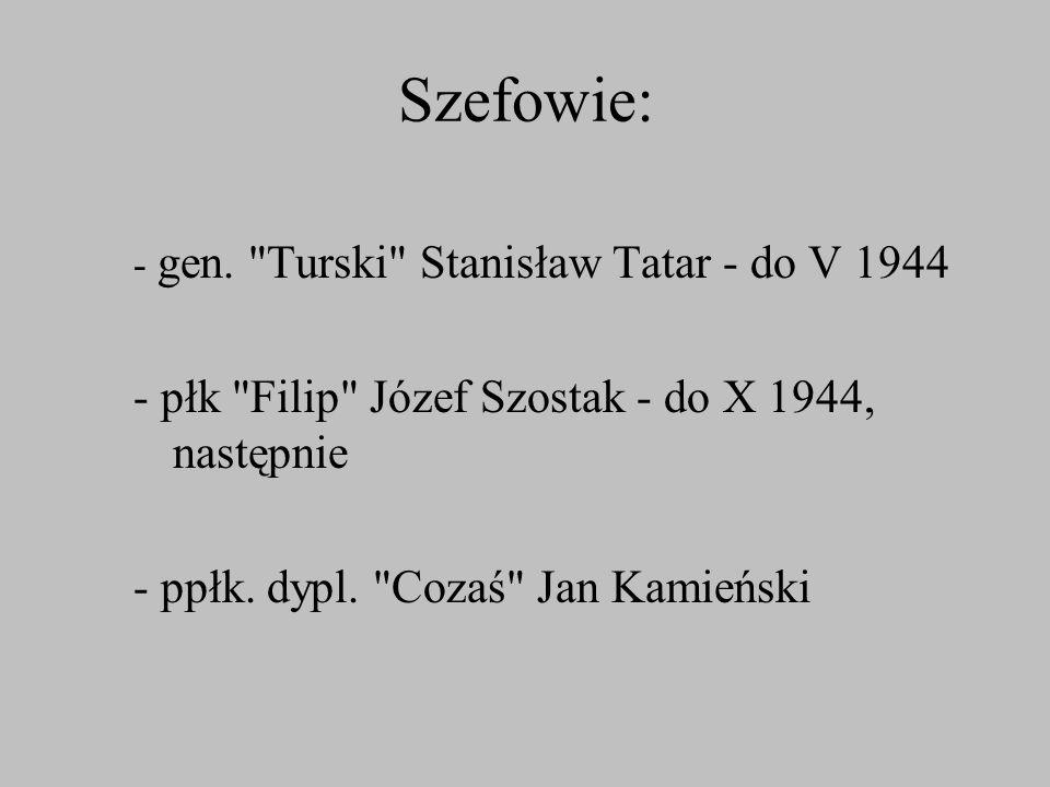 Szefowie: - płk Filip Józef Szostak - do X 1944, następnie