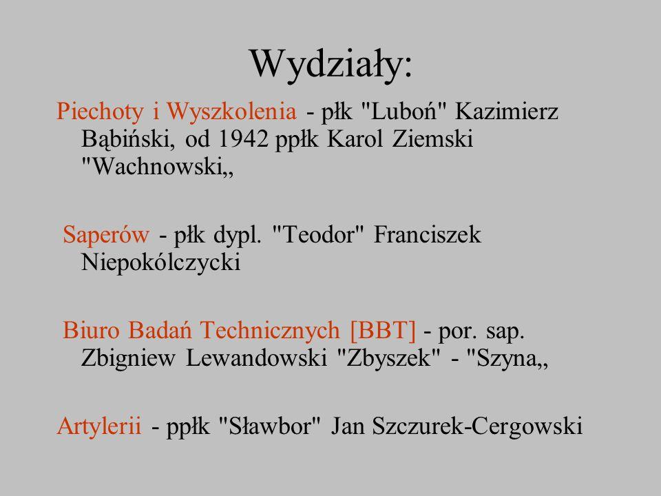 """Wydziały: Piechoty i Wyszkolenia - płk Luboń Kazimierz Bąbiński, od 1942 ppłk Karol Ziemski Wachnowski"""""""