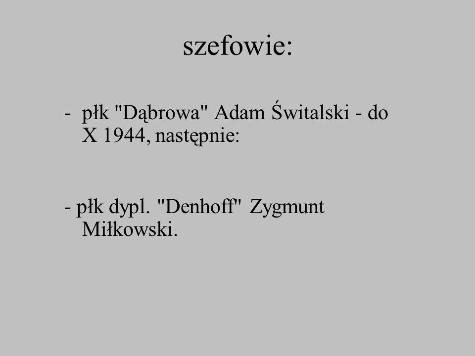 szefowie: płk Dąbrowa Adam Świtalski - do X 1944, następnie: