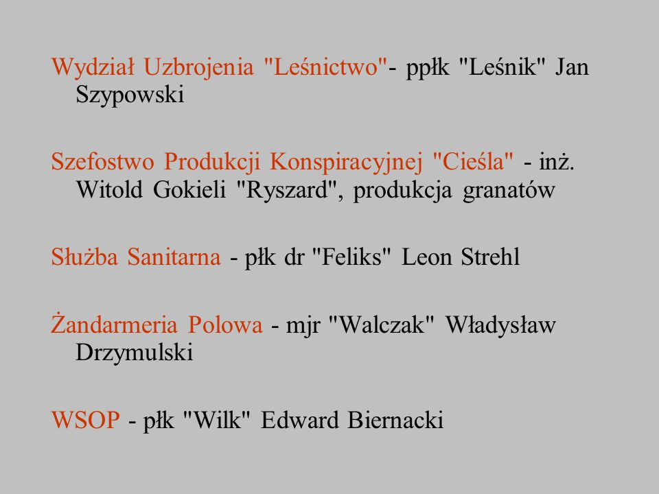 Wydział Uzbrojenia Leśnictwo - ppłk Leśnik Jan Szypowski