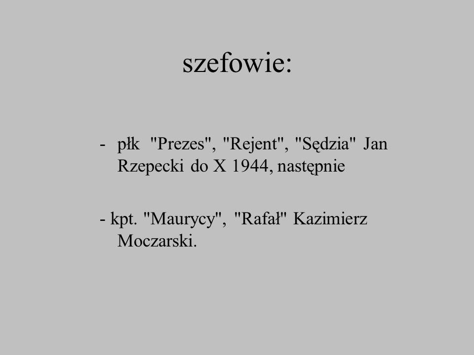 szefowie: płk Prezes , Rejent , Sędzia Jan Rzepecki do X 1944, następnie.