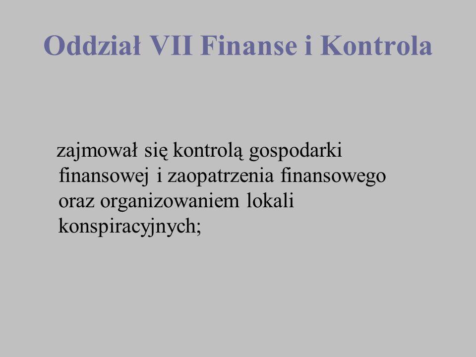 Oddział VII Finanse i Kontrola