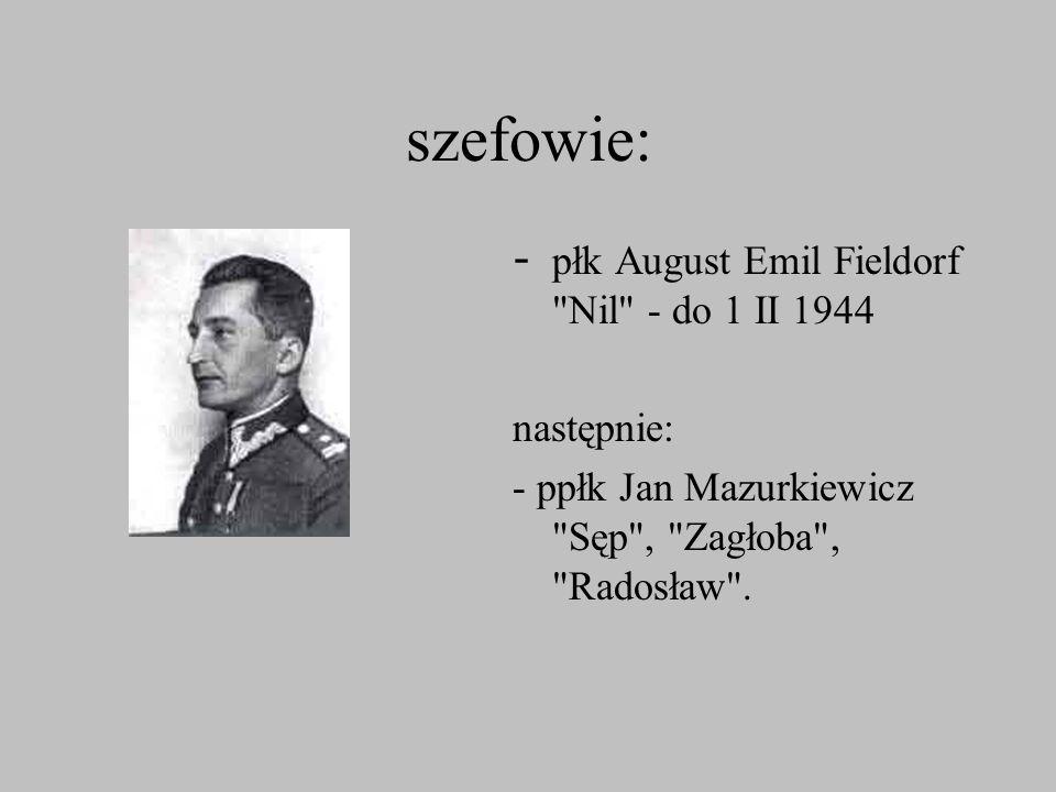 szefowie: - płk August Emil Fieldorf Nil - do 1 II 1944 następnie: