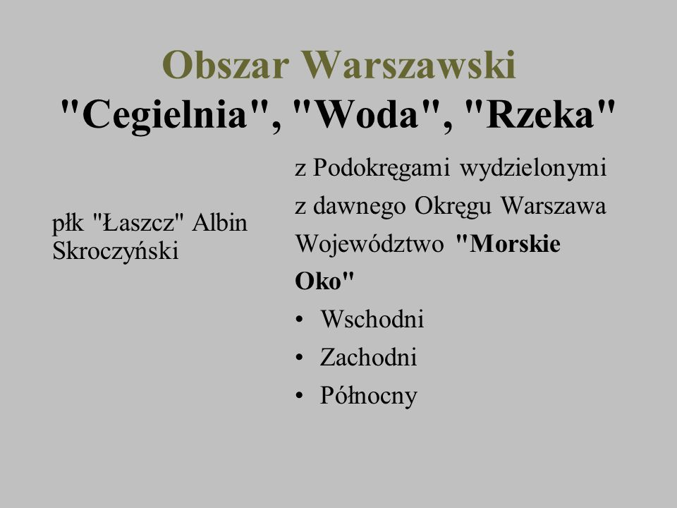 Obszar Warszawski Cegielnia , Woda , Rzeka