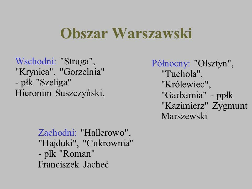Obszar Warszawski Wschodni: Struga , Krynica , Gorzelnia - płk Szeliga Hieronim Suszczyński,