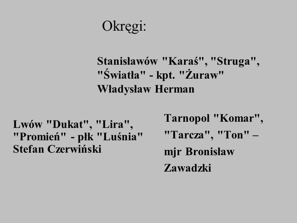 Okręgi: Stanisławów Karaś , Struga , Światła - kpt. Żuraw Władysław Herman. Tarnopol Komar ,