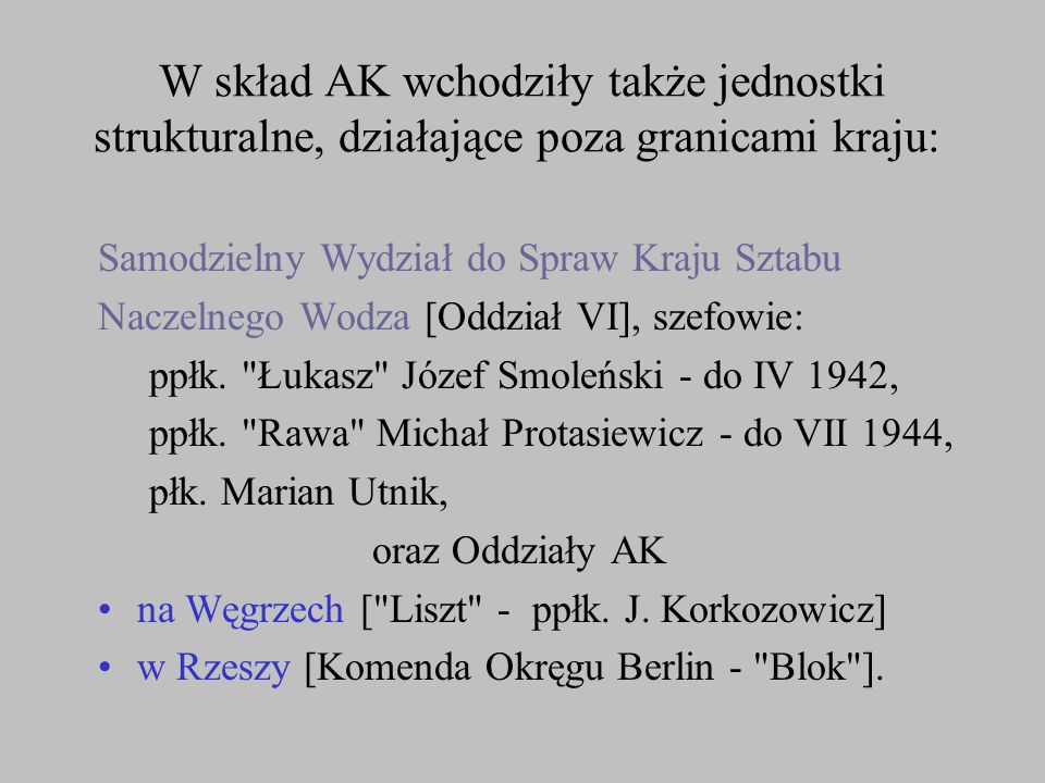 W skład AK wchodziły także jednostki strukturalne, działające poza granicami kraju: