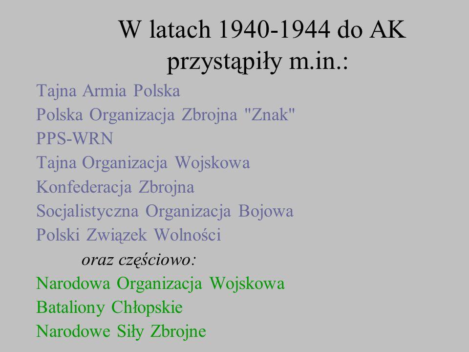 W latach 1940-1944 do AK przystąpiły m.in.: