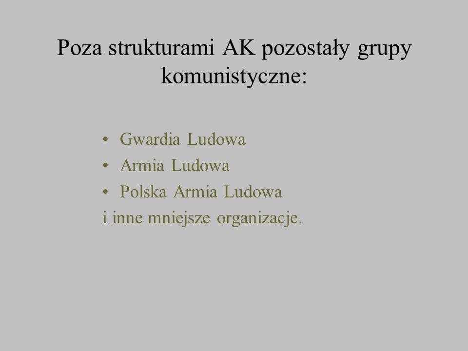Poza strukturami AK pozostały grupy komunistyczne: