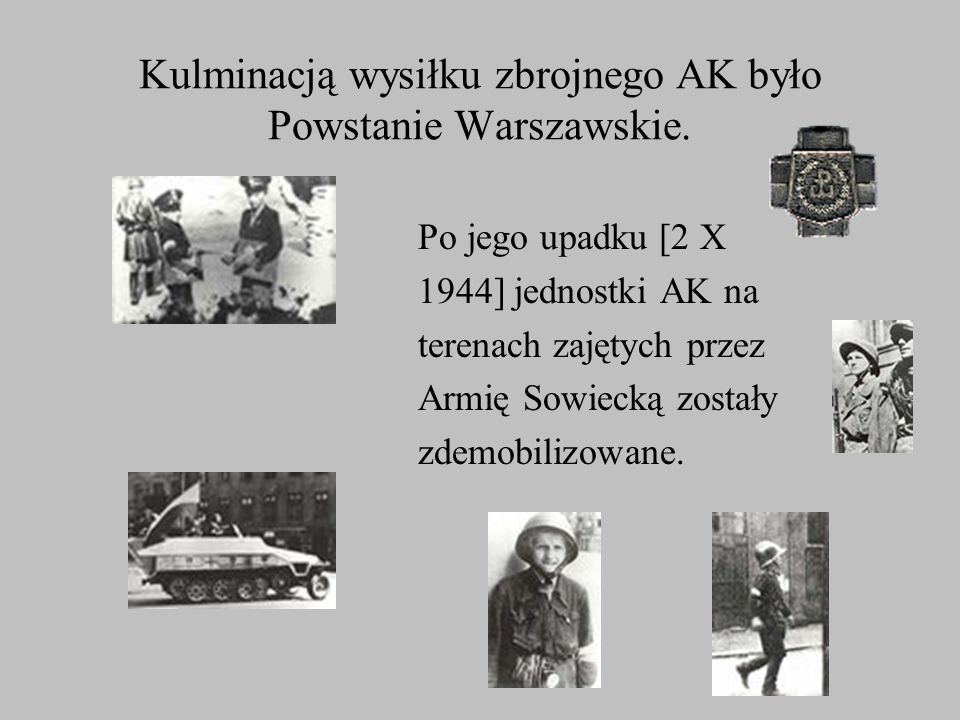 Kulminacją wysiłku zbrojnego AK było Powstanie Warszawskie.