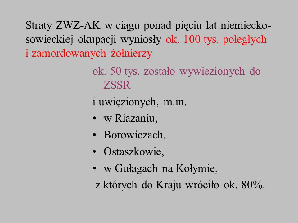 Straty ZWZ-AK w ciągu ponad pięciu lat niemiecko-sowieckiej okupacji wyniosły ok. 100 tys. poległych i zamordowanych żołnierzy