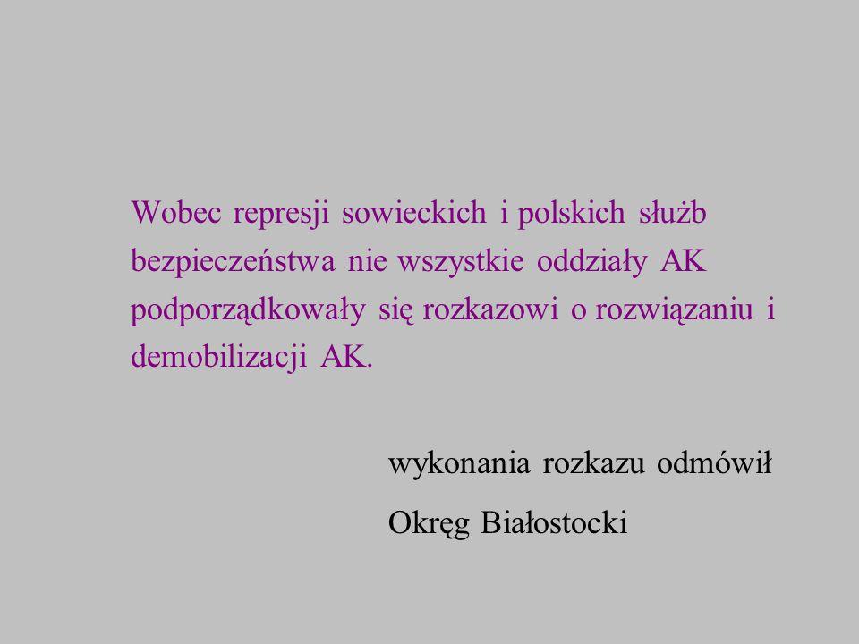 Wobec represji sowieckich i polskich służb