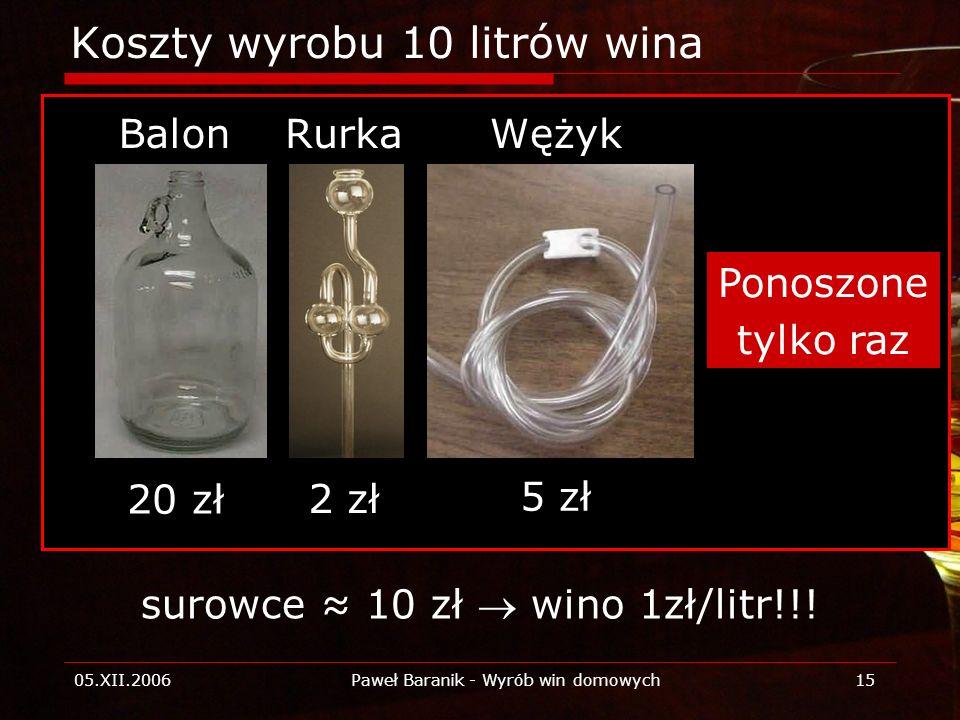 Koszty wyrobu 10 litrów wina