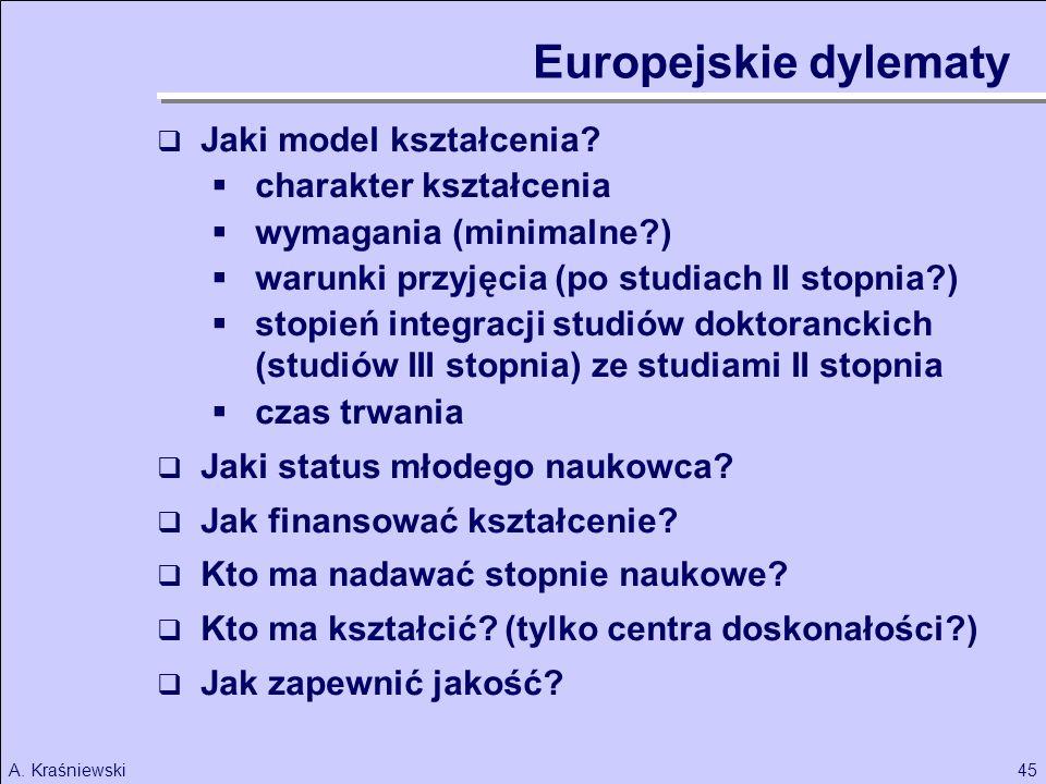Europejskie dylematy Jaki model kształcenia charakter kształcenia