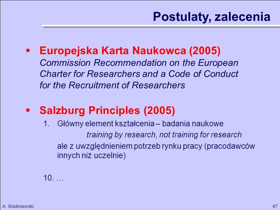Postulaty, zalecenia Europejska Karta Naukowca (2005)