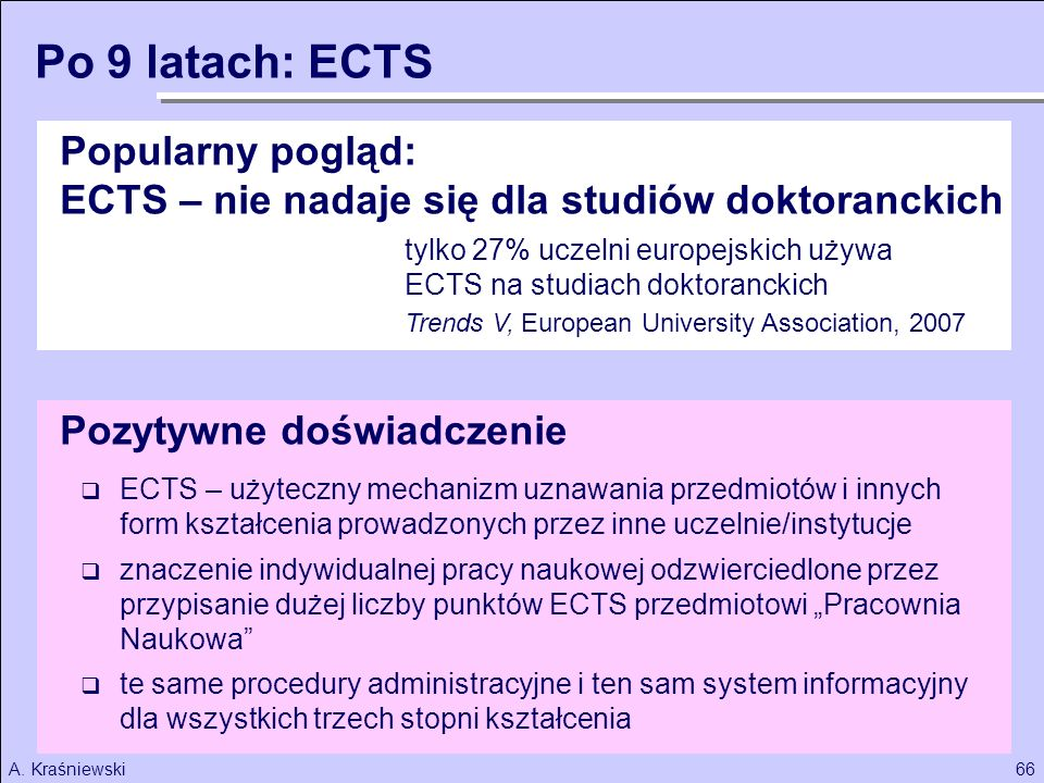 Po 9 latach: ECTS Popularny pogląd: