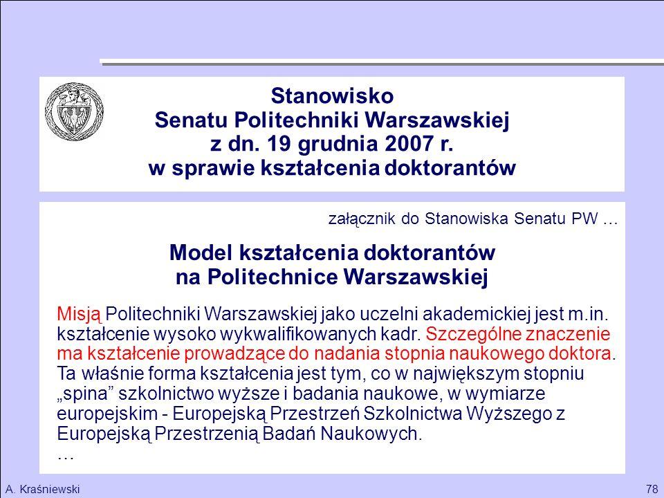 Senatu Politechniki Warszawskiej z dn. 19 grudnia 2007 r.
