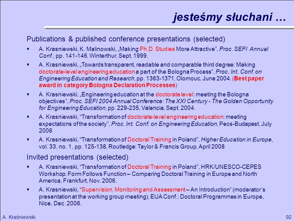 jesteśmy słuchani … Publications & published conference presentations (selected)