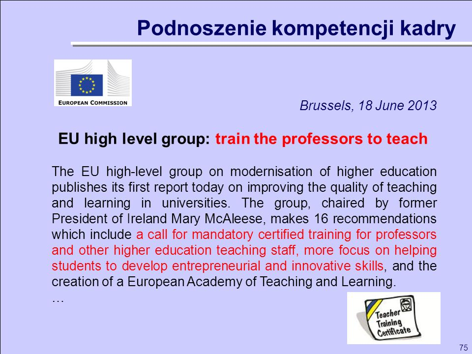 EU high level group: train the professors to teach