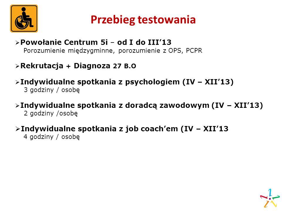 Przebieg testowania Indywidualne spotkania z job coach'em (IV – XII'13