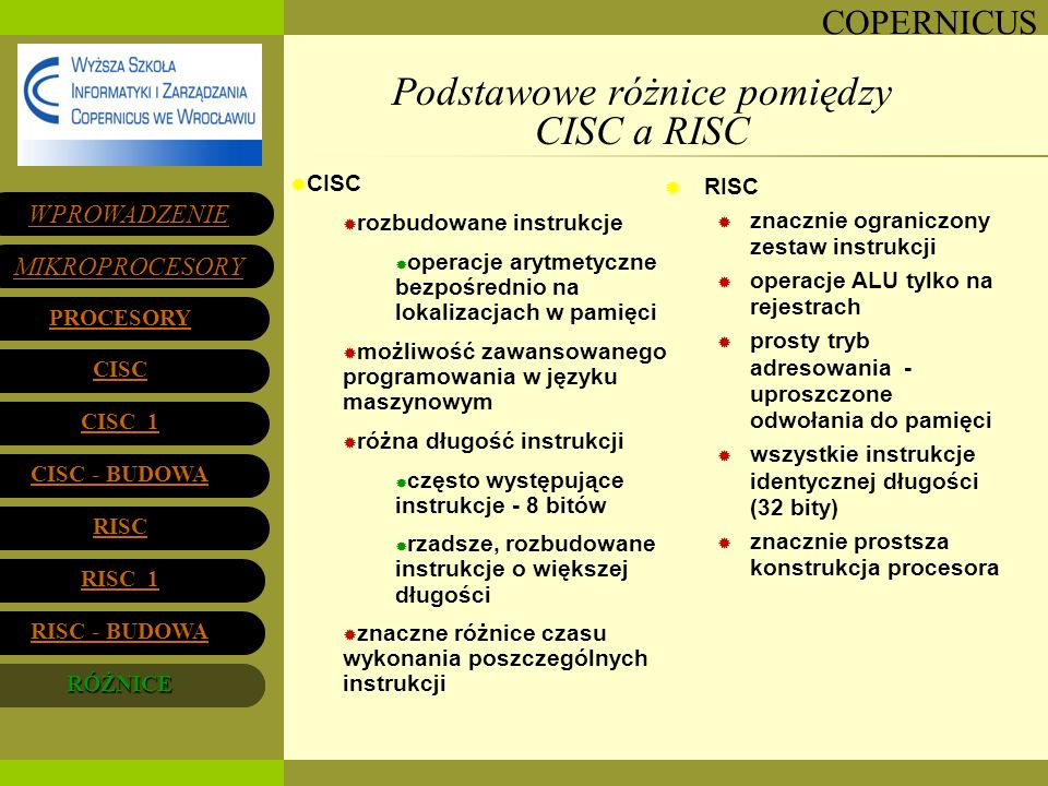 Podstawowe różnice pomiędzy CISC a RISC