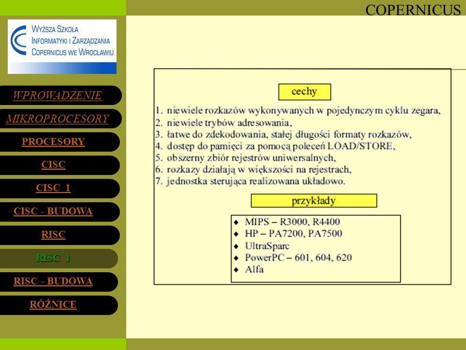 RISC 1 WPROWADZENIE MIKROPROCESORY PROCESORY CISC CISC 1 CISC - BUDOWA