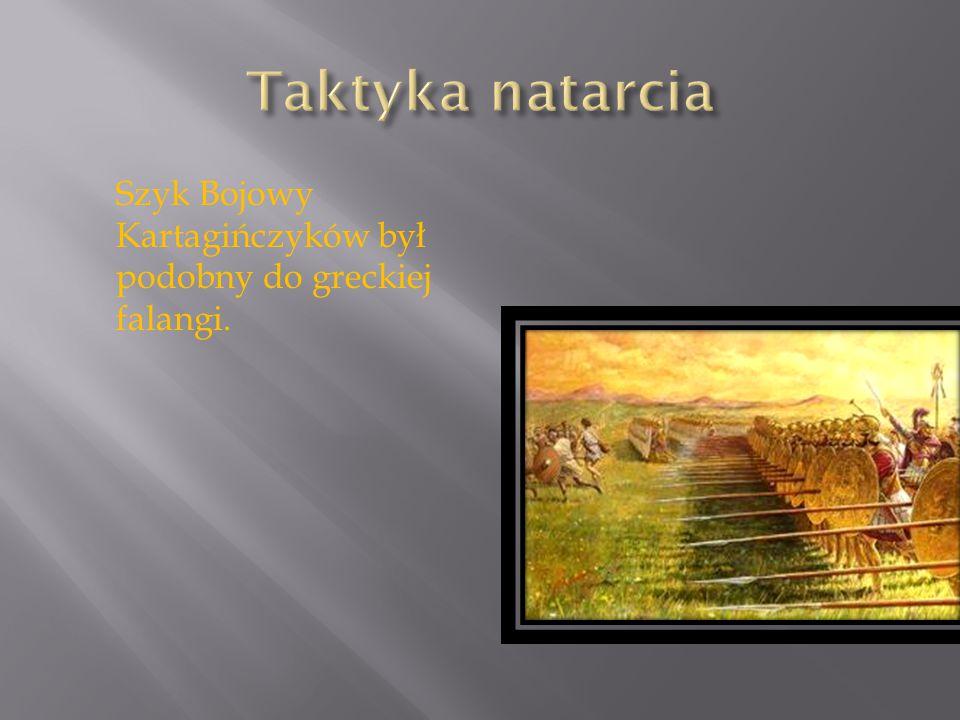 Taktyka natarcia Szyk Bojowy Kartagińczyków był podobny do greckiej falangi.