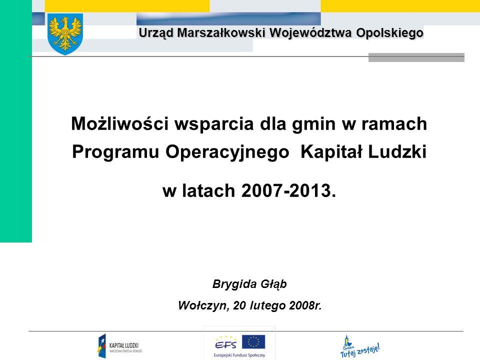 Możliwości wsparcia dla gmin w ramach Programu Operacyjnego Kapitał Ludzki