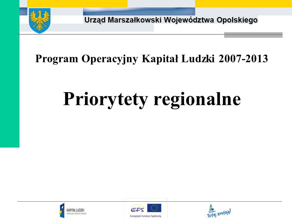 Program Operacyjny Kapitał Ludzki 2007-2013 Priorytety regionalne