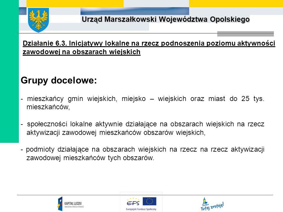 Działanie 6.3. Inicjatywy lokalne na rzecz podnoszenia poziomu aktywności zawodowej na obszarach wiejskich