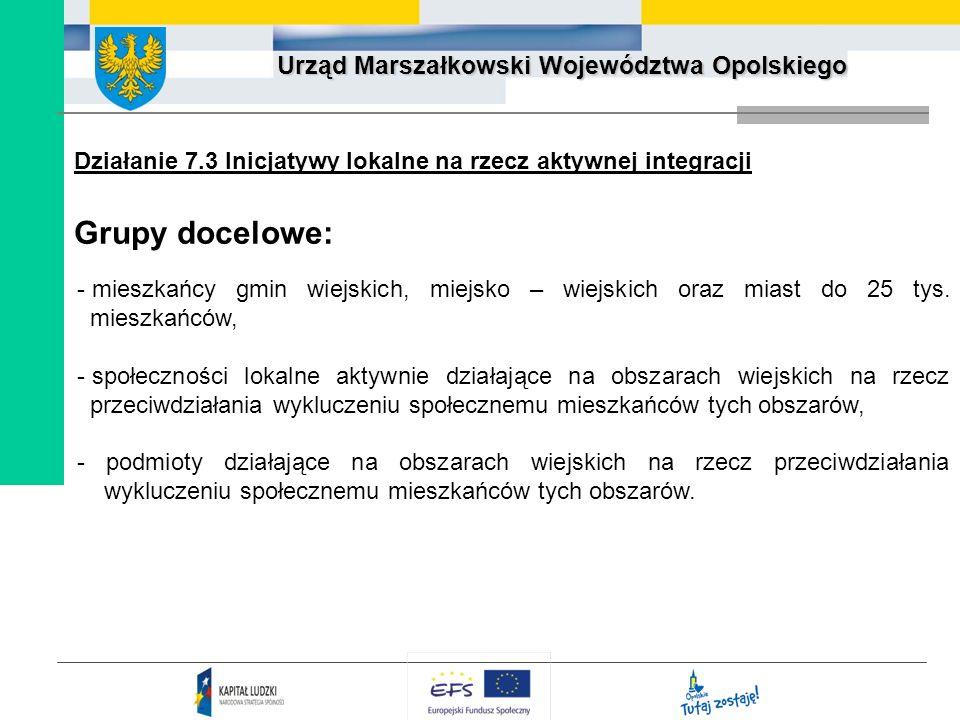 Działanie 7.3 Inicjatywy lokalne na rzecz aktywnej integracji