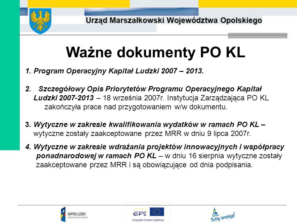 Ważne dokumenty PO KL 1. Program Operacyjny Kapitał Ludzki 2007 – 2013. Szczegółowy Opis Priorytetów Programu Operacyjnego Kapitał.
